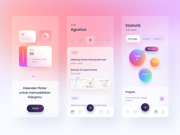 Smart kalender-app som visar Glassmorphism